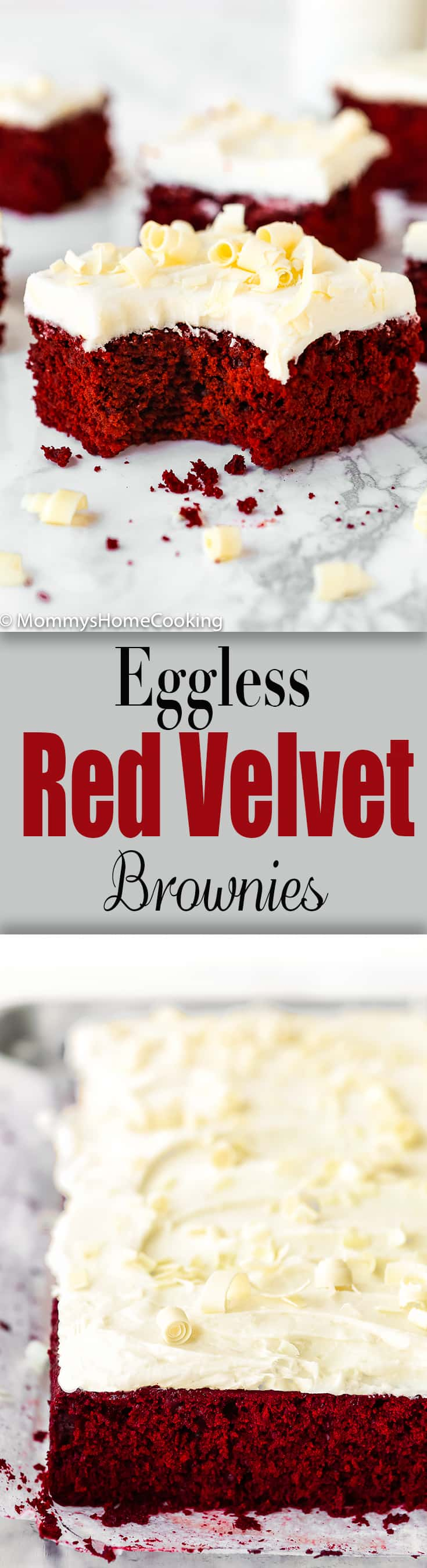 These showstopper Eggless Red Velvet Brownies are the perfect excuse to indulge! Über-rich and decadent, these reddies are super simple to make and easy to decorate. https://mommyshomecooking.com