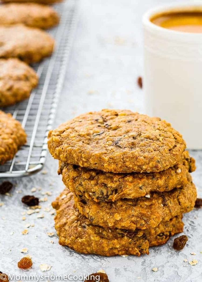 eggless breakfast cookies stack with a cup of coffee
