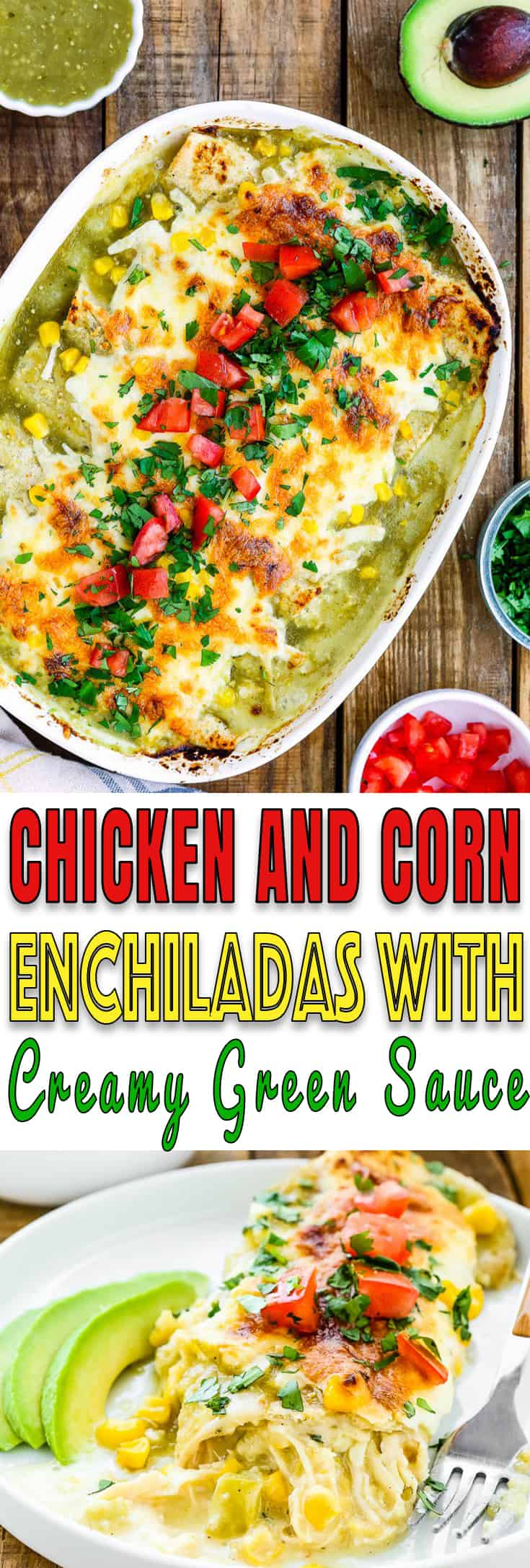 These Chicken and Corn Enchiladas with Creamy Green Sauce are weeknight meal perfection. It's cheesy, it's slightly spicy, it's sensationally delicious. http://mommyshomecooking.com