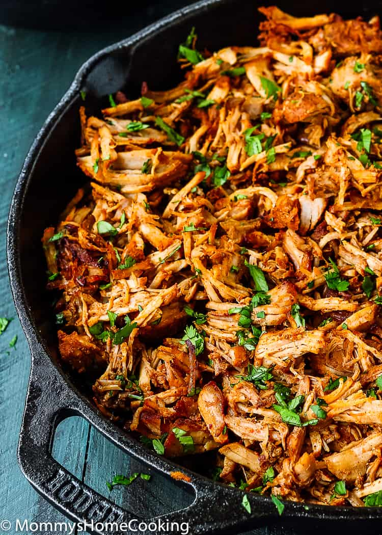 Tender Instant Pot Mexican Pulled Pork in a skillet