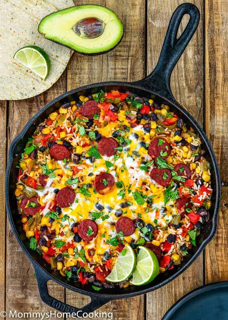 This Chorizo Burrito Skillet is incredibly easy to pull off and tastes extraordinary! A family-pleasing meal that is ready in 30 minutes. https://mommyshomecooking.com