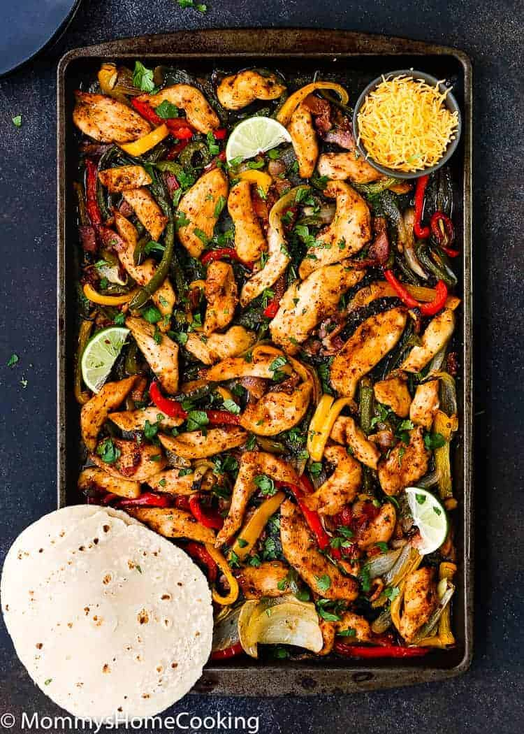 This Sheet Pan Barbecue Bacon Chicken Fajitas is zesty, smoky and oh-so-welcome on a busy weeknight. Plus, it is happily mess-free. https://mommyshomecooking.com