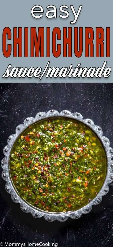 Easy Chimichurri Sauce in a metal plate with descriptive text