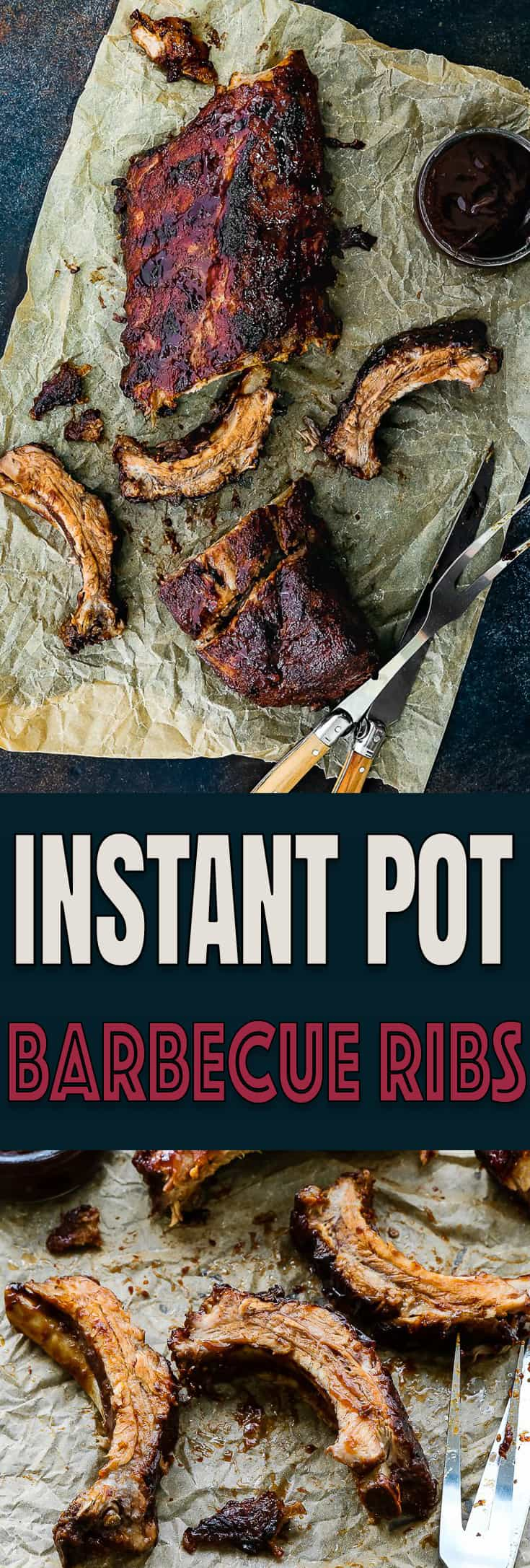 These Instant Pot Barbecue Ribs are sticky, saucy, savory, sweet, and sooo tender. Fall-off-the-bone tender. They are done in 30 minutes, with just 5 ingredients. https://mommyshomecooking.com
