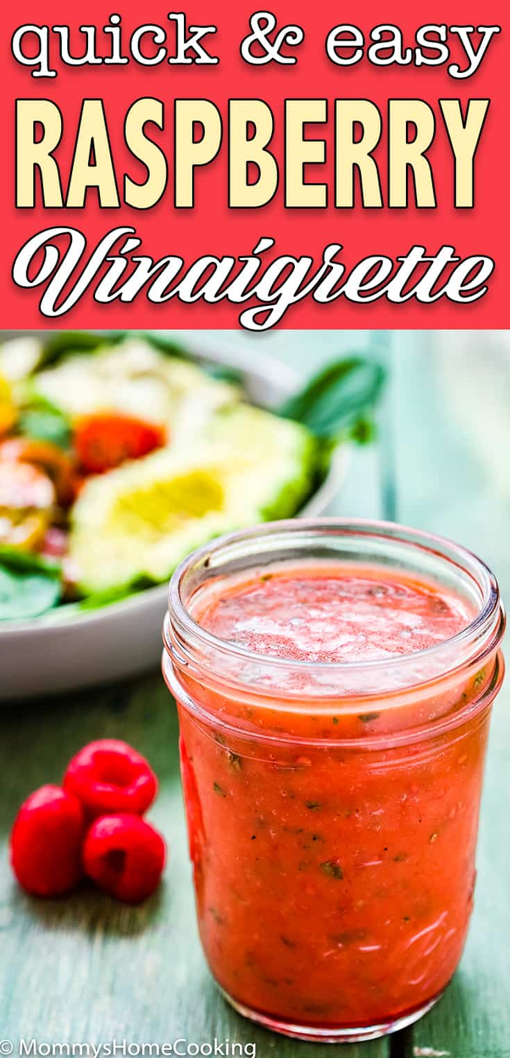 easy raspberry vinaigrette in a glass jar with overlay text