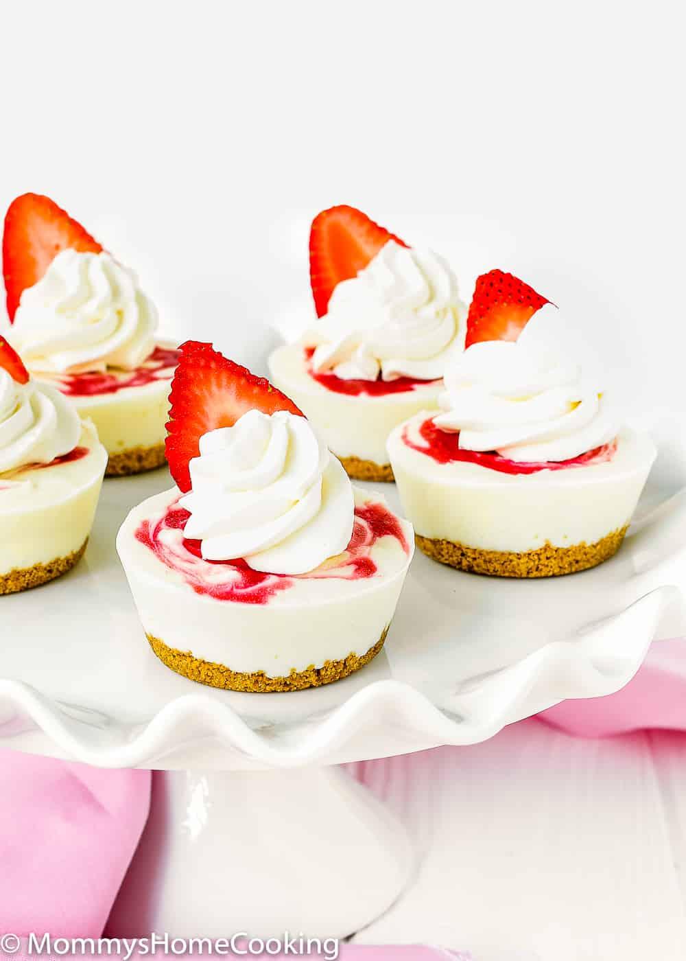 Mini Greek Yogurt Strawberry Cheesecakes in a serving plate