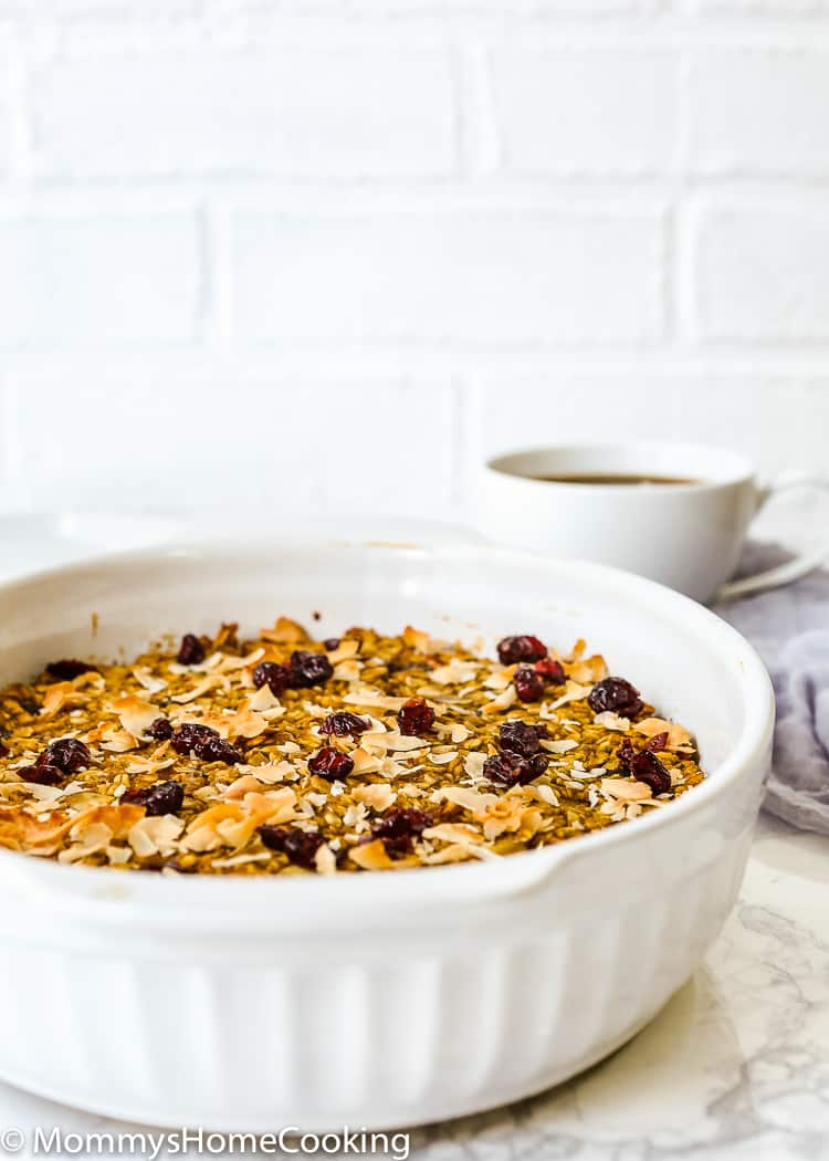 This Pumpkin Cranberry Baked Oatmeal is the perfect breakfast any day of the week! Hearty, filling, and yummy, this baked oatmeal is what you have been looking for to start your day off right. Plus, it's super easy and can be made in advance. https://mommyshomecooking.com