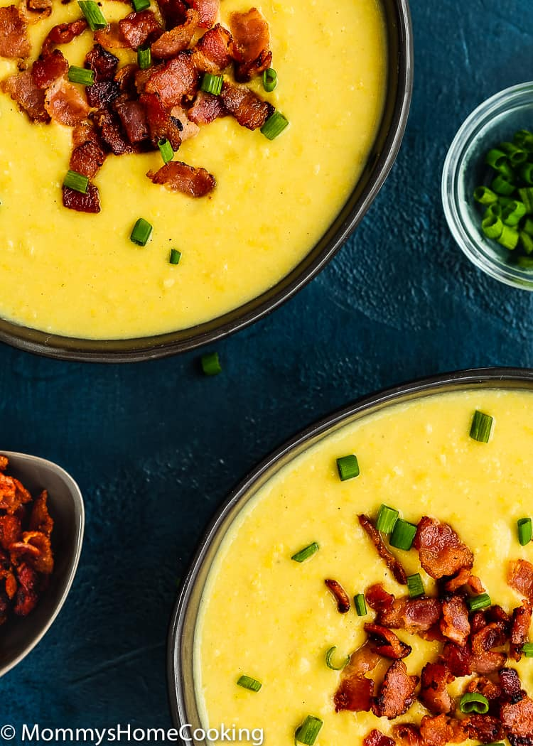 This Slow Cooker Creamy Corn Soup is sweet, creamy, delicious and soul-warming! Made with just a few basic ingredients this soup can be cooked in the slow cooker or the pressure cooker. So easy to put together. https://mommyshomecooking.com