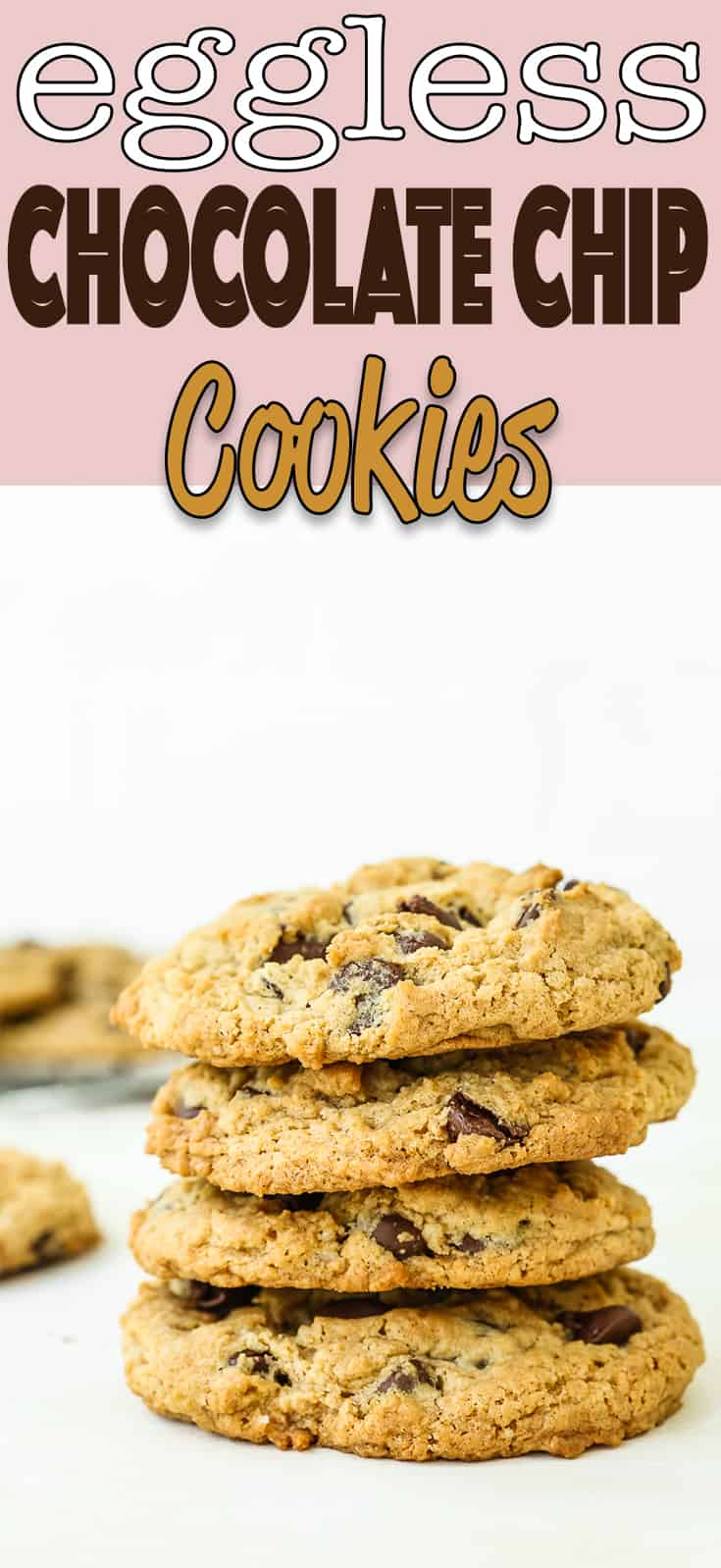 These are THE BEST Eggless Chocolate Chip Cookies Ever!! With a slightly crispy outside and wonderfully soft and chewy inside, these cookies are heaven for any cookie lover. #recipe #eggless #eggfree #egglessbaking #cookies #chocolatechip #easy #christmascookies