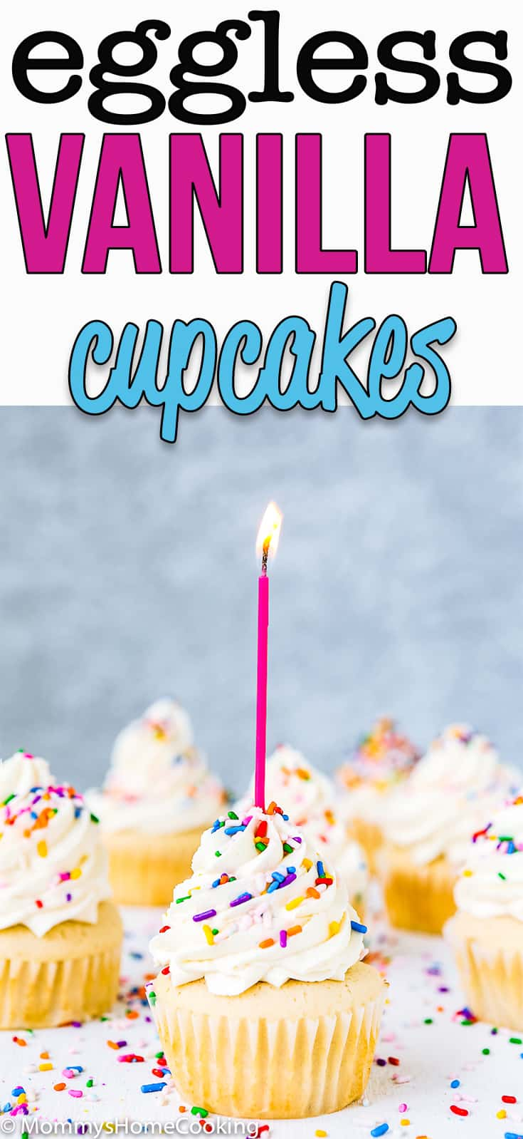 These fluffy and moist Eggless Vanilla Cupcakes are super easy to make with just a few ingredients. This is the recipe you have been looking for! #recipe #eggless #eggfree #egglessbaking #cupcakes #vanilla #birthday