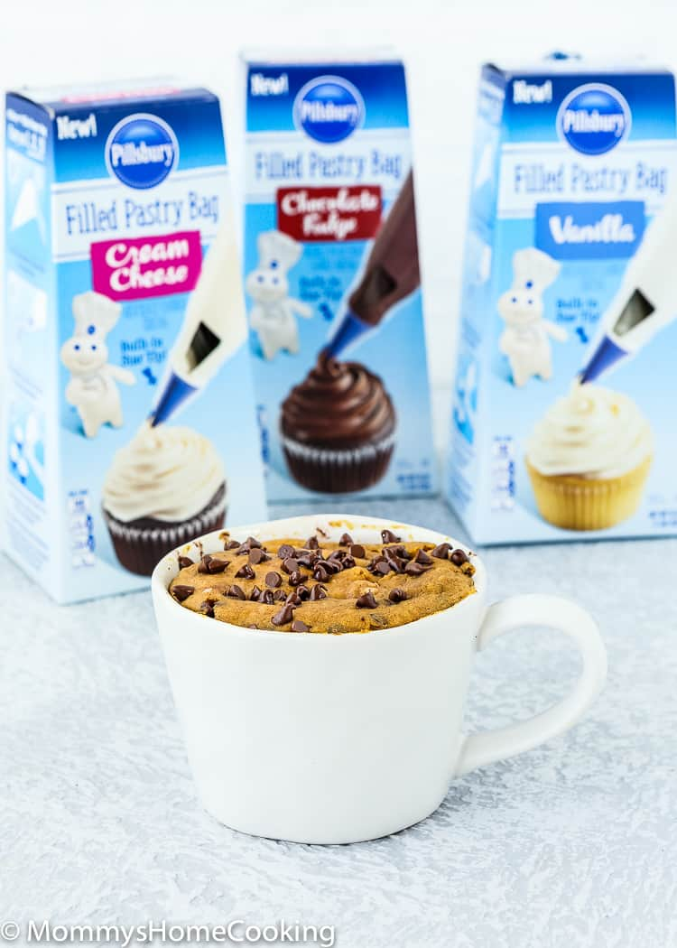 eggless Chocolate Chip Pumpkin Bread in a Mug with 3 frosting packets