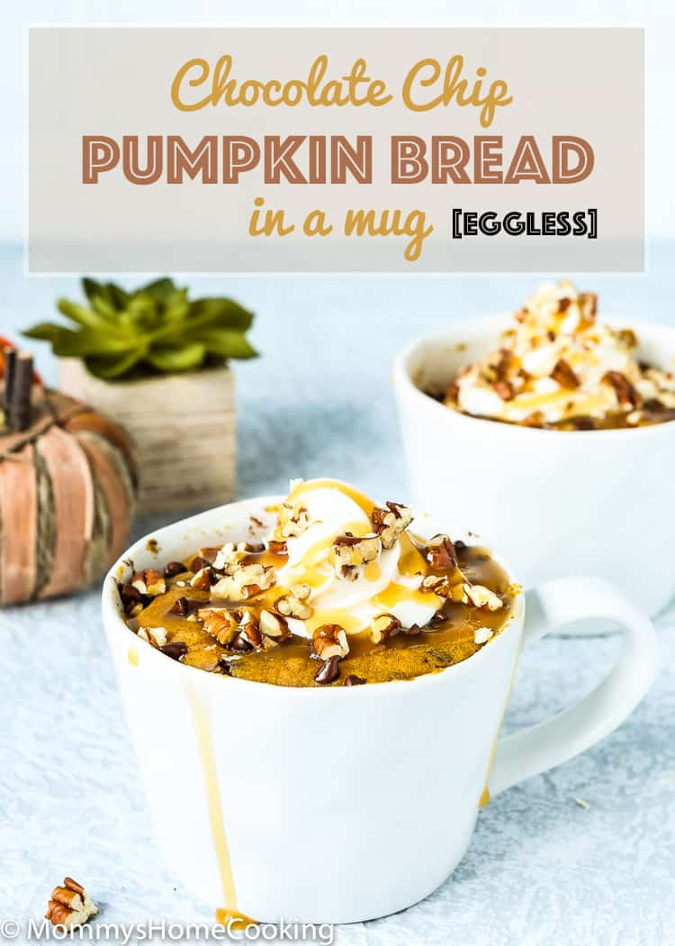 Done in 3 minutes, this Chocolate Chip Pumpkin Bread in a Mug is soft, fluffy and bursting with pumpkin spice flavor! It's fall goodness in a mug. https://mommyshomecooking.com