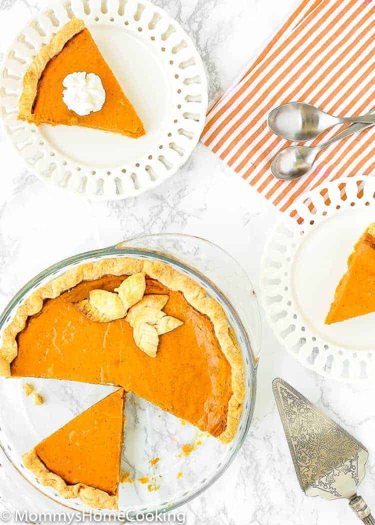 Eggless Pumpkin Pie over a table