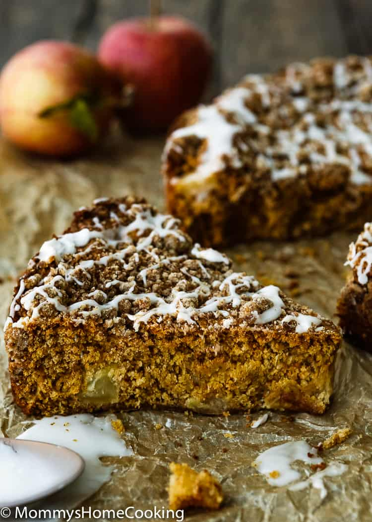 Eggless Apple Maple Spice Cake slice
