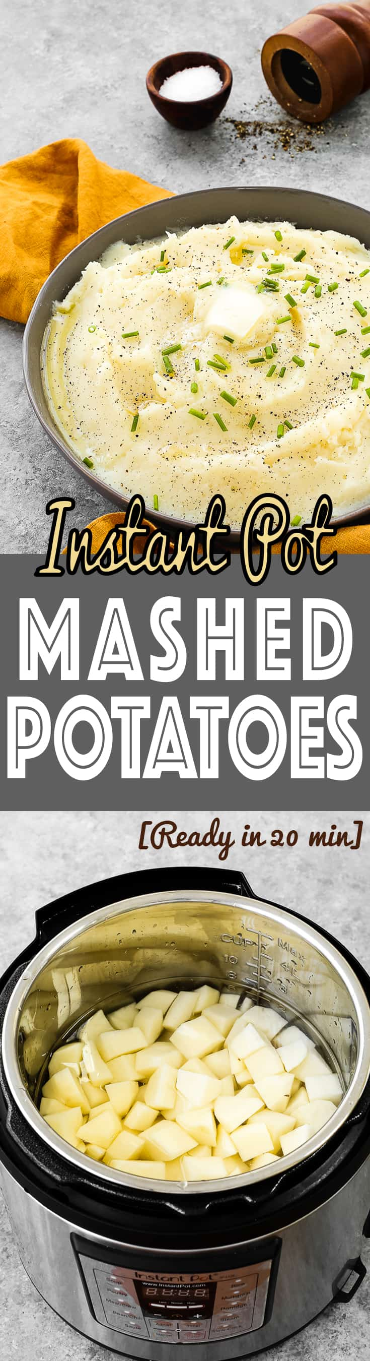 This Instant Pot Mashed Potatoes is creamy, tasty, and just delicious!  It's made with a handful of ingredients, feeds a crowd, and is ready in 20 MINUTES. It also can be prepared ahead of time. https://mommyshomecooking.com