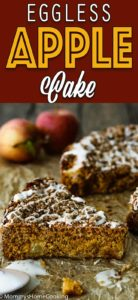 eggless apple cake with descriptive text