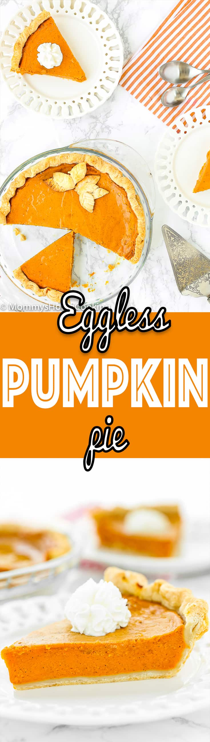 This Easy Eggless Pumpkin Pie is rich, smooth and spiced! Seriously amazing. It's super easy to make, too! Definitely a MUST-MAKE for the holidays. https://mommyshomecooking.com