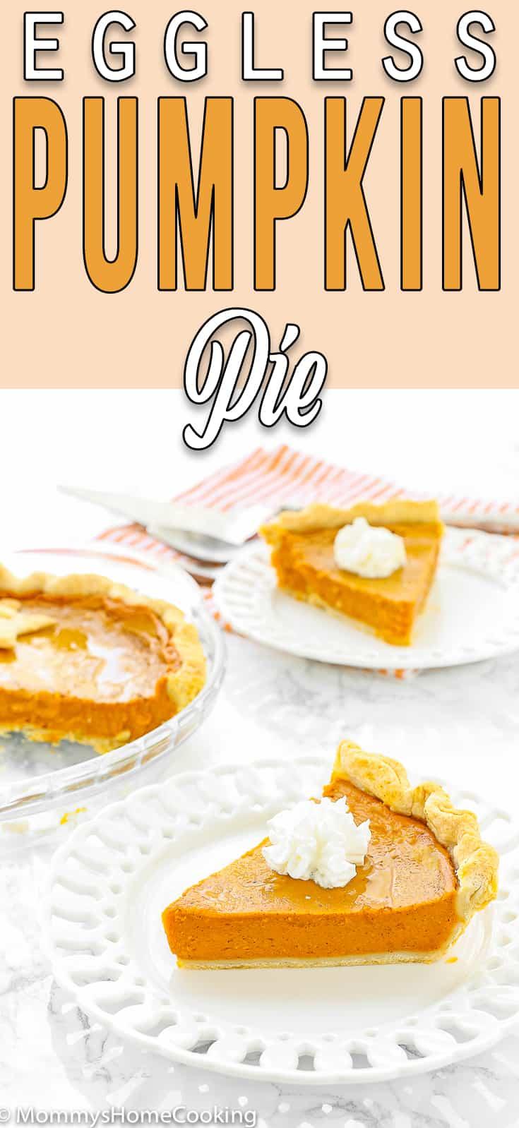 eggless pumpkin pie slices with descriptive text