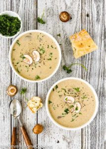 Mushroom Soup with Roasted Garlic and Marrow Bones