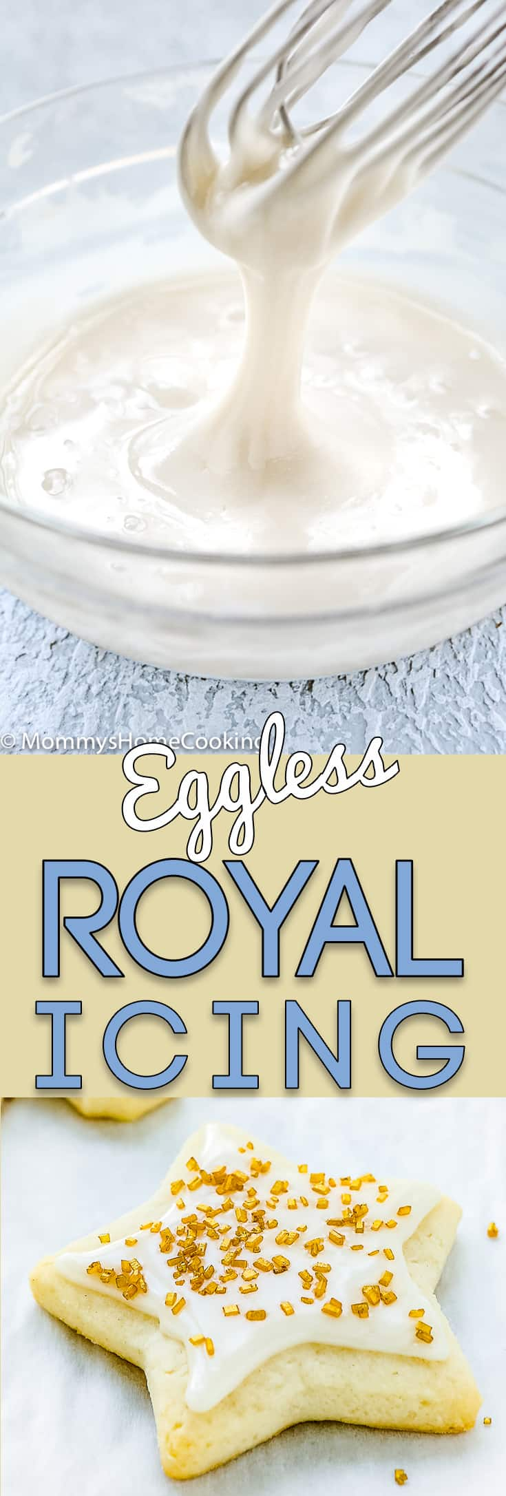 This Eggless Royal Icing is for perfect decorating cookies! With a subtle lemony taste, it's great for anything from sugar cookies to drawing decorative shapes or gluing together a gingerbread house. It hardens when it dries so decorations stay in place. https://mommyshomecooking.com