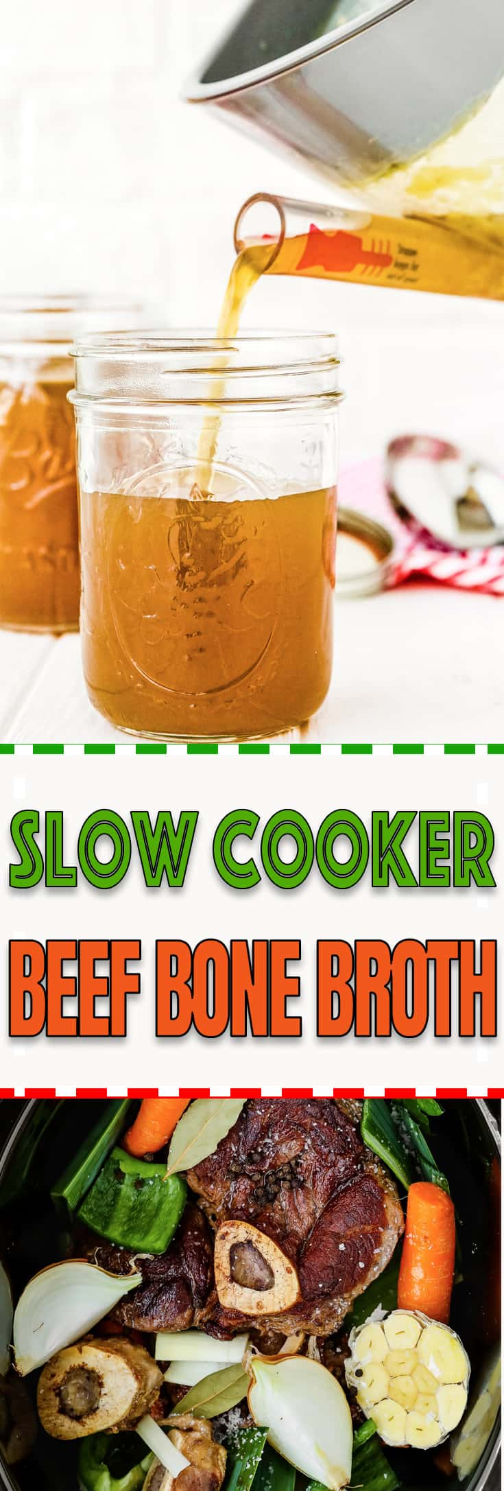 This Slow Cooker Beef Bone Broth is rich in nutrients and super tasty! It's easy to make and it's a money saver, too. Enjoy it on its own or use it to make your favorite stew, soup, and many other dishes. https://mommyshomecooking.com