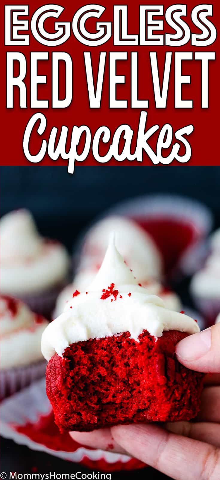 These Easy Eggless Red Velvet Cupcakes are tender, light, moist and delicious all at once!! They are super easy to whip up for your next get-together.Perfect for crowded birthday parties and school celebrations. #recipe #egglessbaking #eggfree #eggless #cupcake #redvelvet #valentines #desserts