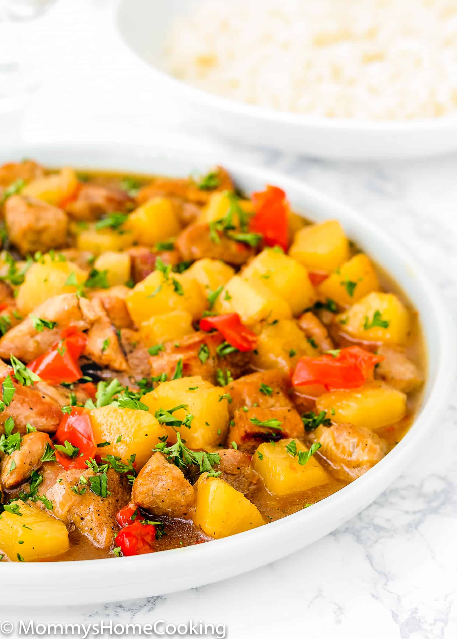 This Instant Pot Hawaiian Pineapple Pork recipe is a quick and easy dish that is perfect for busy weeknights. It's out of this world delicious. Smoky, sweet, salty and tangy. Best of all...this dish is ready in under 30 minutes! https://mommyshomecooking.com