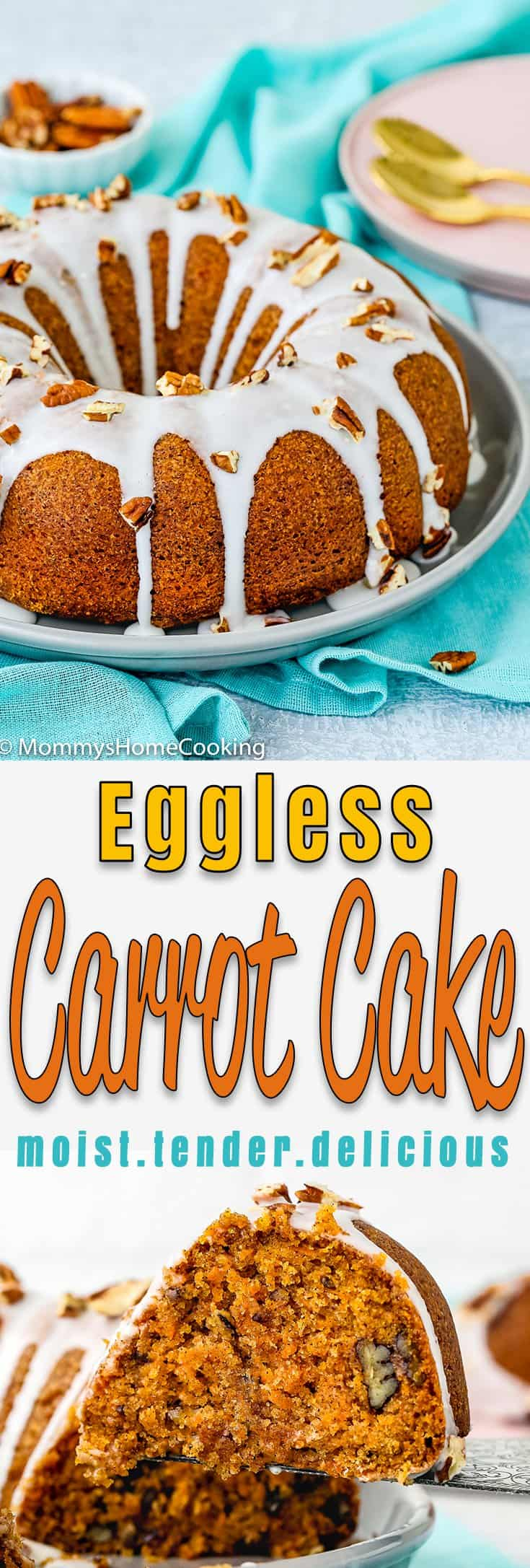 This Eggless Carrot Cake is incredibly moist and tender! It's filled with carrot goodness and has a delicious cinnamon-y taste, and as if that were not enough, it is topped with luscious cream cheese glaze! It comes together easily and is wonderful for breakfast, afternoon snack, or dessert. https://mommyshomecooking.com