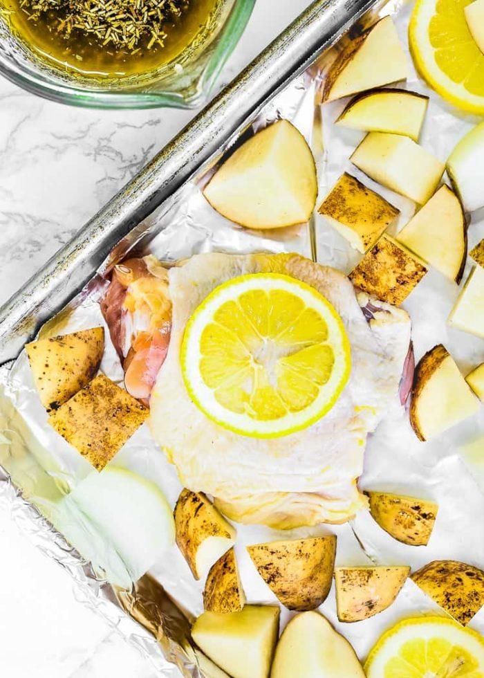 how to make Sheet Pan Lemon Garlic Roasted Chicken and Potatoes step 1