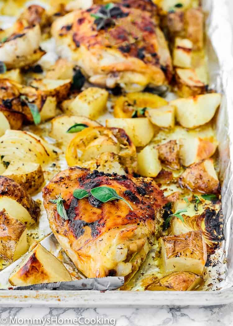 Sheet Pan Lemon Garlic Roasted Chicken and Potatoes in a baking pan