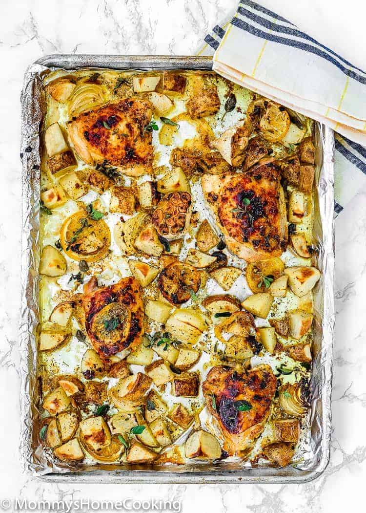 Sheet Pan with Lemon Garlic Roasted Chicken and Potatoes