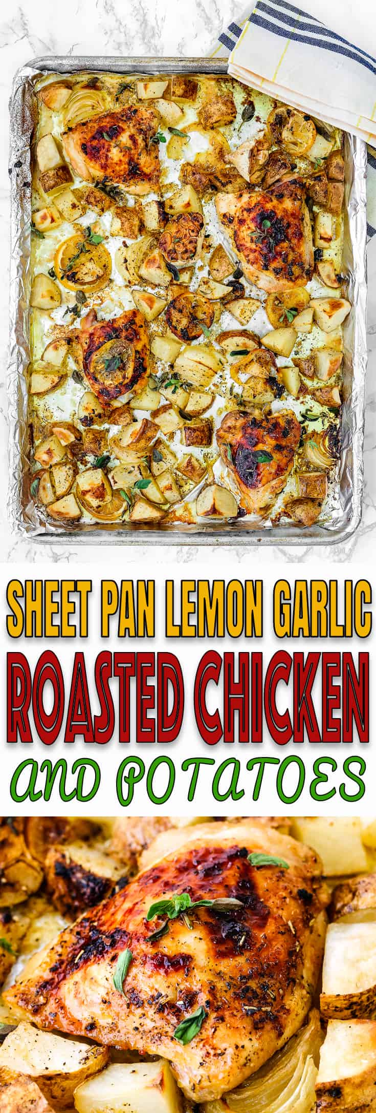 This Sheet Pan Lemon Garlic Roasted Chicken and Potatoes is incredibly simple, but seriously scrumptious! The chicken and potatoes are bathed in plenty of herbs and a delicious bright citrus sauce that will make your taste buds dance. The perfect the answer to hectic weeknights. Whole 30 friendly. https://mommyshomecooking.com