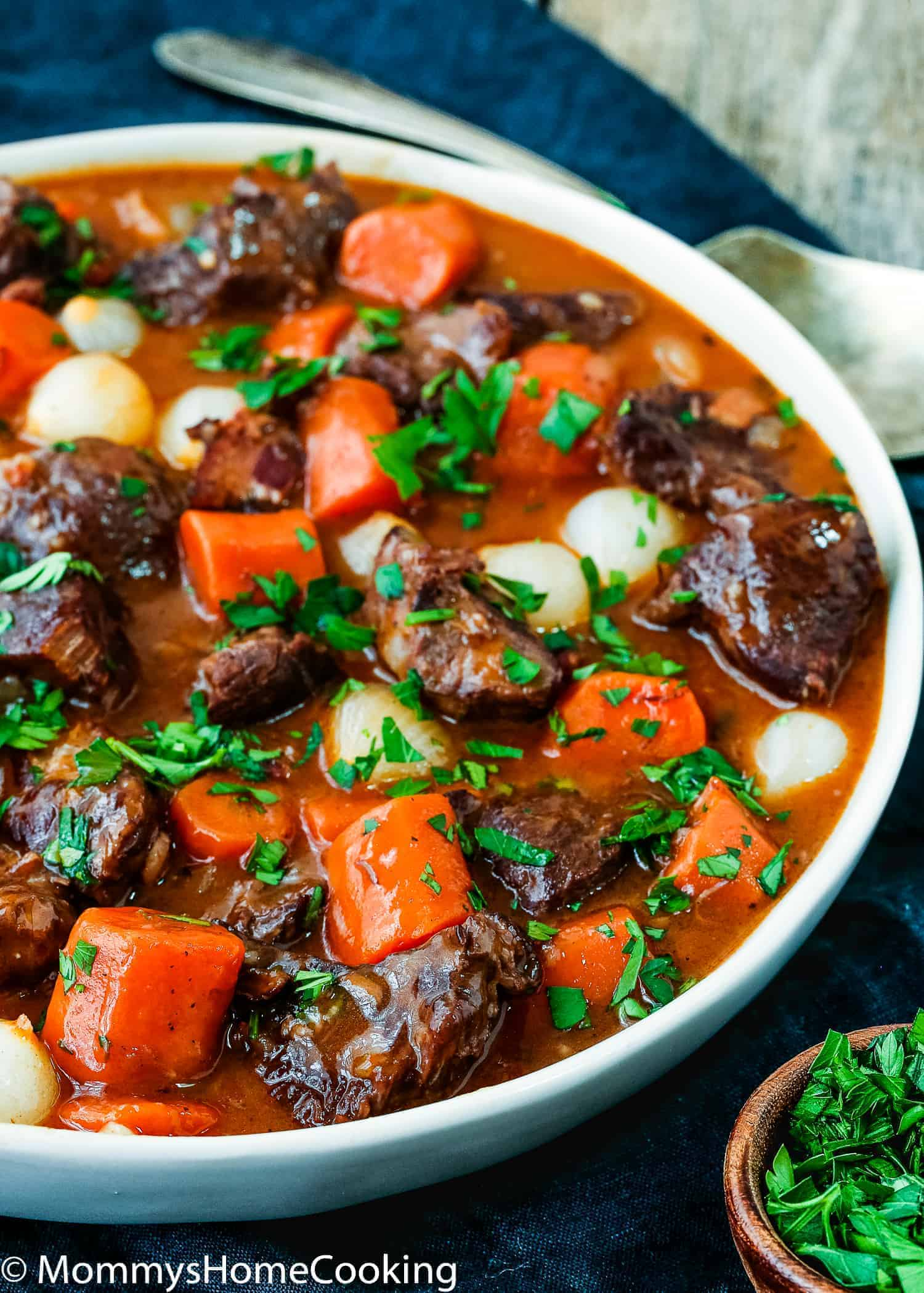 This Easy Instant Pot Beef Bourguignon Recipe has never been faster, easier, and yummier. This supremely delicious melt-in-your-mouth comfort dish is easy enough for a simple weeknight dinner and elegant enough for entertaining. https://mommyshomecooking.com