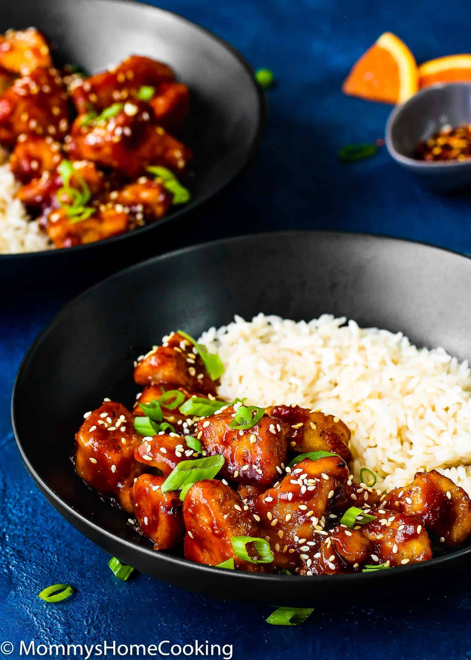 Easy Instant Pot Orange Chicken with white rice in a bowl
