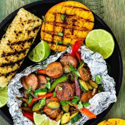 Easy Sausage and Veggies Foil Packets with Grilled Chipotle Mangoes
