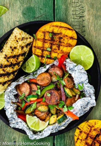 Easy Sausage and Veggies Foil Packets with Grilled Chipotle Mangoes | Mommy's Home Cooking