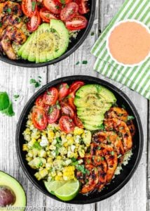 Grilled Barbecue Shrimp and Corn Avocado Salad Bowls