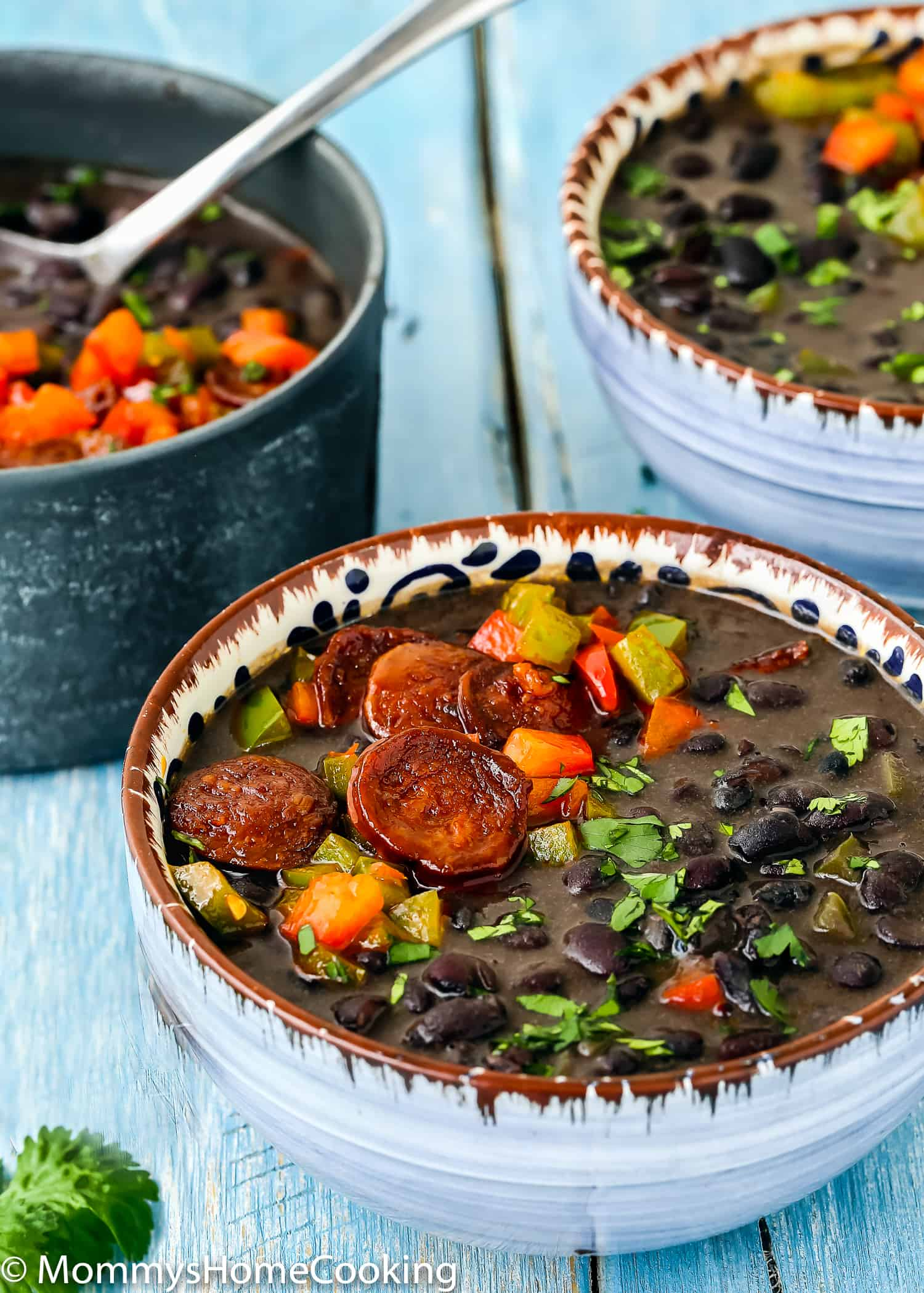 These Instant Pot Black Beans with Chorizo are hearty, satisfying and incredibly flavorful! They're quick and easy to make and perfect for feeding a crowd. Serve them on their own, or as a side dish to complete any meal. https://mommyshomecooking.com