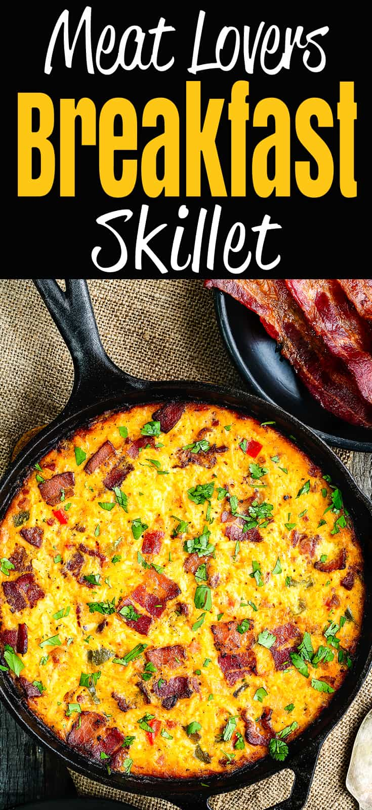 This Meat Lovers Breakfast Skillet is loaded with bacon, ham, chorizo, cheese, hash browns, and veggies! Prepare it the night before, refrigerate, then bake it up in the morning. The perfect savory breakfast for Father's Day, holidays, or get-togethers with family and friends. https://mommyshomecooking.com