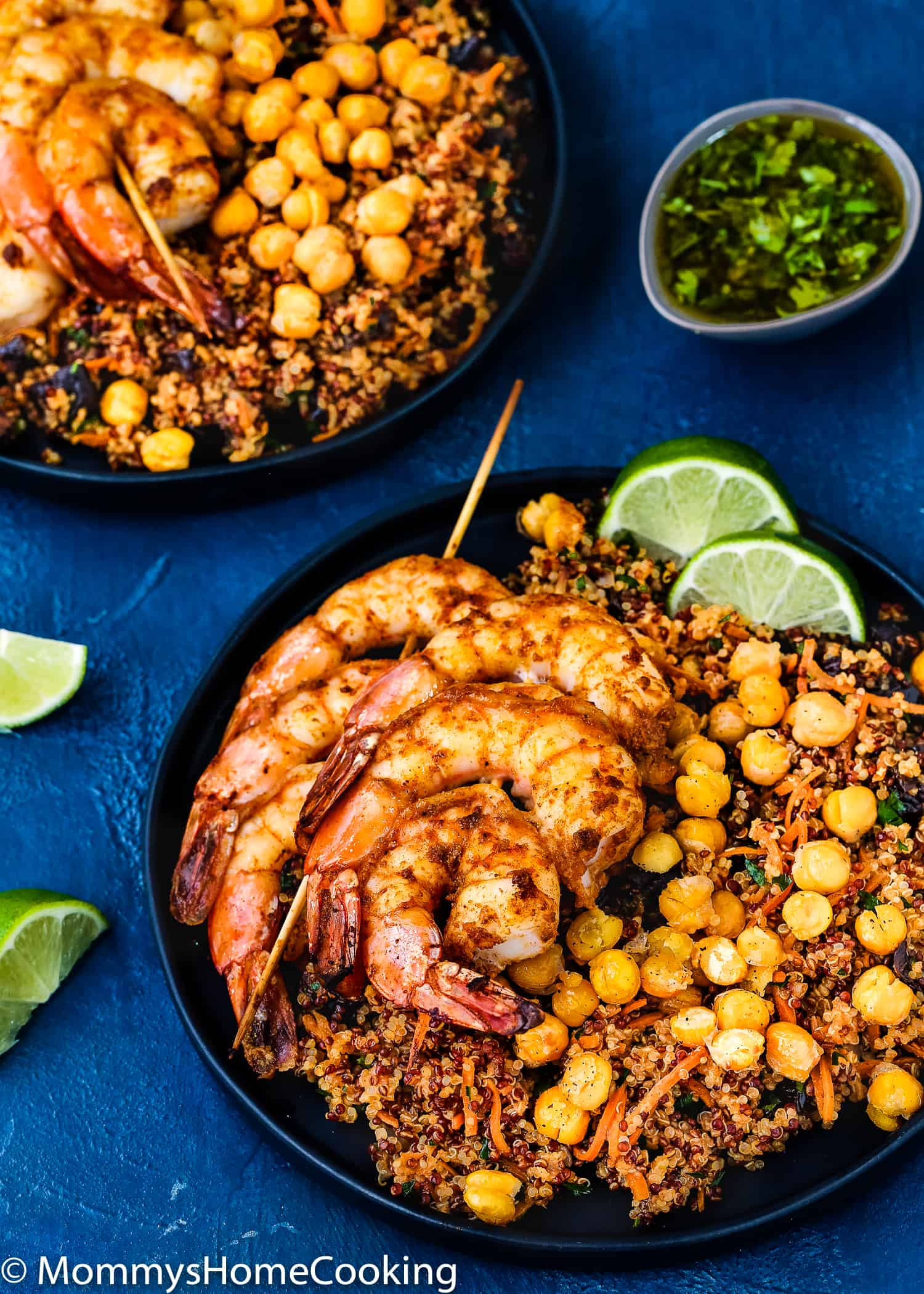 Tasty Moroccan Spiced Shrimp Skewers made with a blend of delicious spices, served with fluffy California Prunes & Quinoa Salad and toasted chickpeas. So exotic and flavorful. https://mommyshomecooking.com