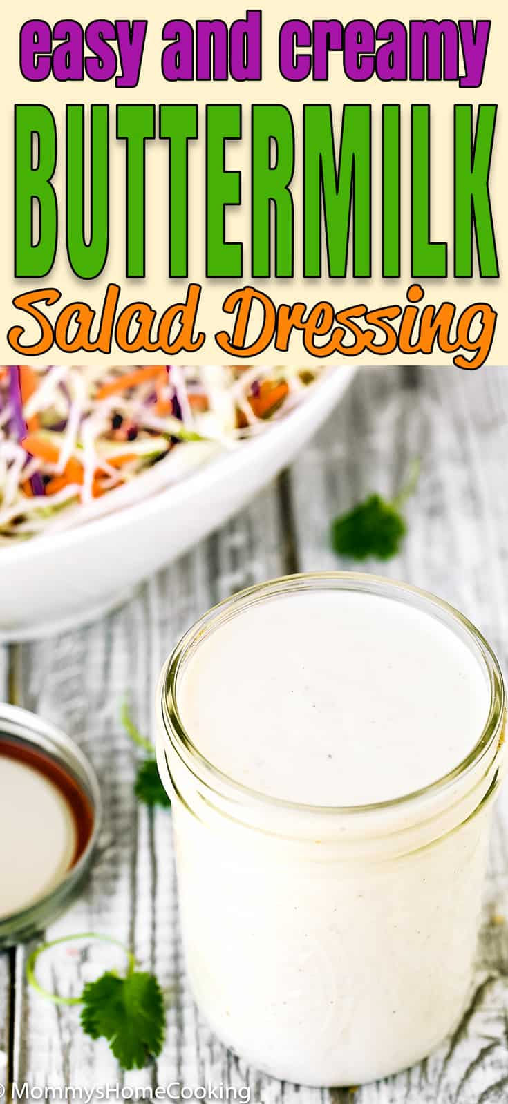 This Buttermilk Salad Dressing is quick, simple, creamy and epically delicious!! Perfect to dress coleslaw, mixed greens, cold pasta salads, steamed broccoli or asparagus spears, as a dip for crunchy vegetables, chips, or sweet potato fries. So much better than any store-bought dressing. https://mommyshomecooking.com