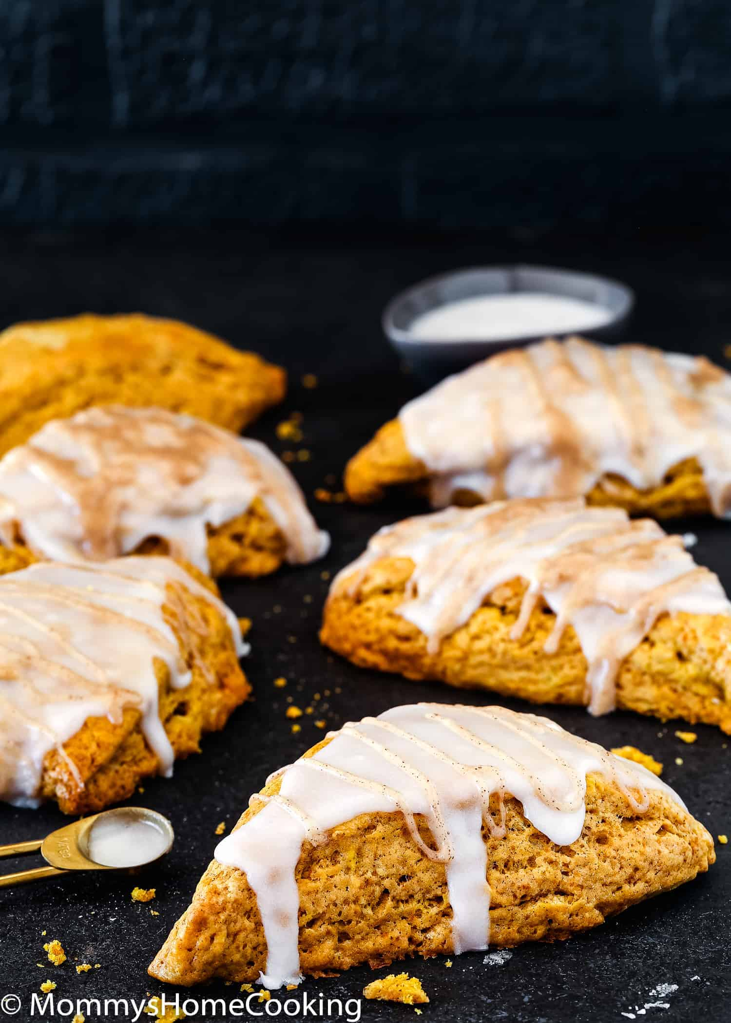 These Eggless Pumpkin Chai Scones are warm, flaky, buttery… the perfect fall breakfast, snack, or treat! They're super simple to make and will have you baking them weekly. https://mommyshomecooking.com