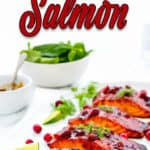 Cranberry Honey Salmon with descriptive text