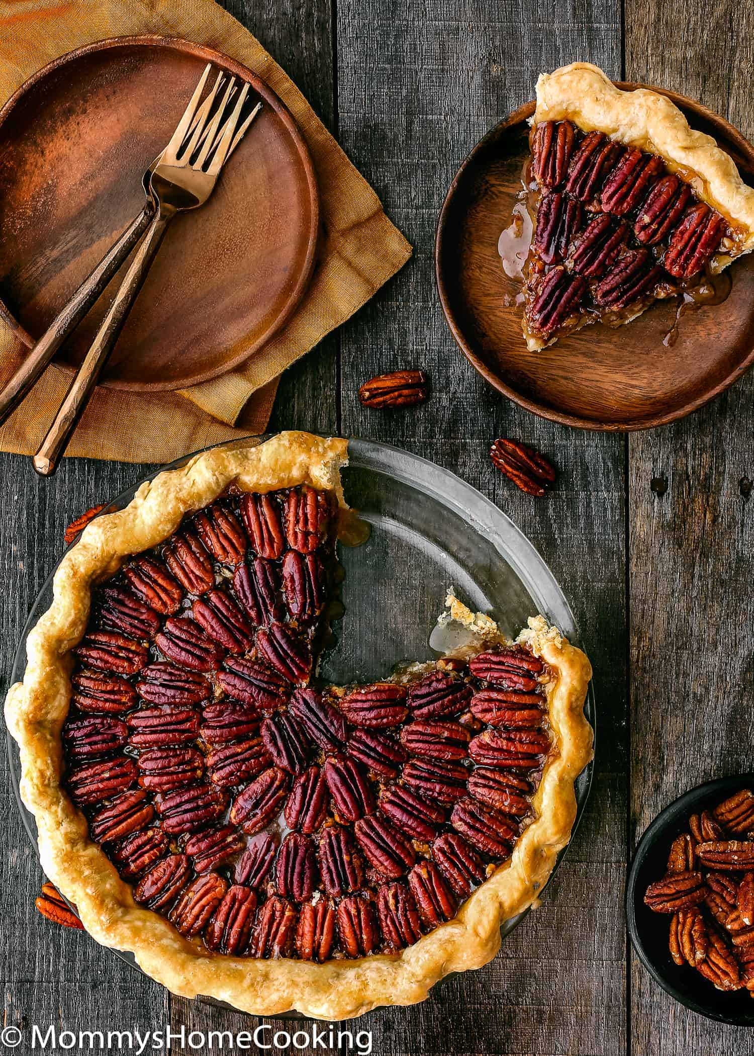 whole Easy Eggless Pecan Pie over a table