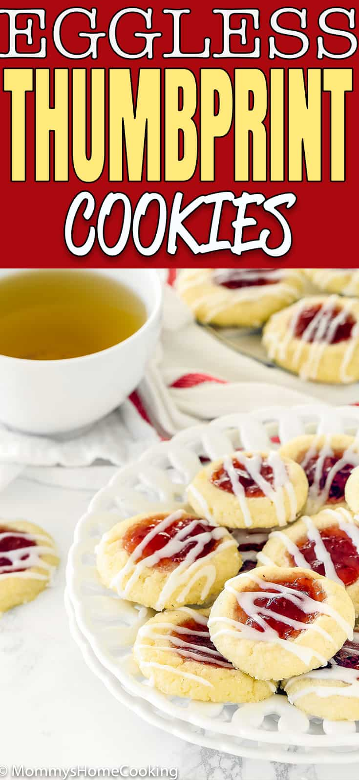 These Eggless Thumbprint Cookies are a wonderful treat for this holiday season! They are gorgeous, delicious, and guaranteed show stoppers at any holiday party. Sharing is highly recommended.