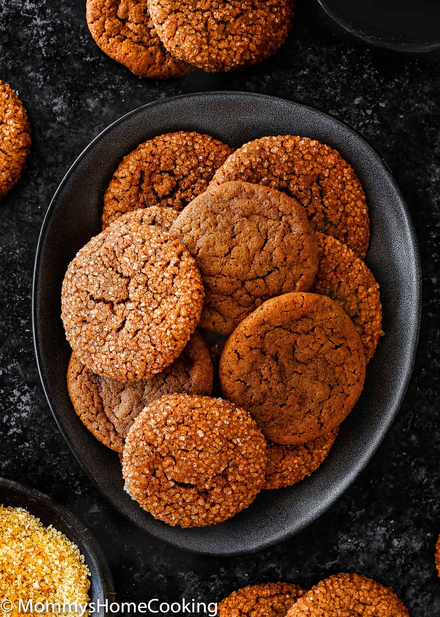 These Eggless Soft Molasses Cookies are the slightly crisp around the edges with a super soft, melt in your mouth, center! Packed with the amazing, rich flavors of molasses, ginger, and cinnamon, these molasses cookies are easy to make with simple ingredients. Make ahead and freezing tips included. https://mommyshomecooking.com
