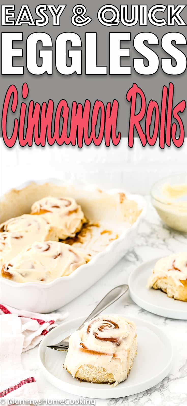 These Easy Eggless Cinnamon Rolls are fluffy, soft and are ready in about 1 hour! Made from scratch and totally delicious, this Eggless Cinnamon Rolls recipe is perfect for breakfast brunch or just dessert. Step-by-step photos and overnight instructions included. #recipe #easy #cinnamonrolls #eggless #eggfree #egglessbaking #breakfast #brunch