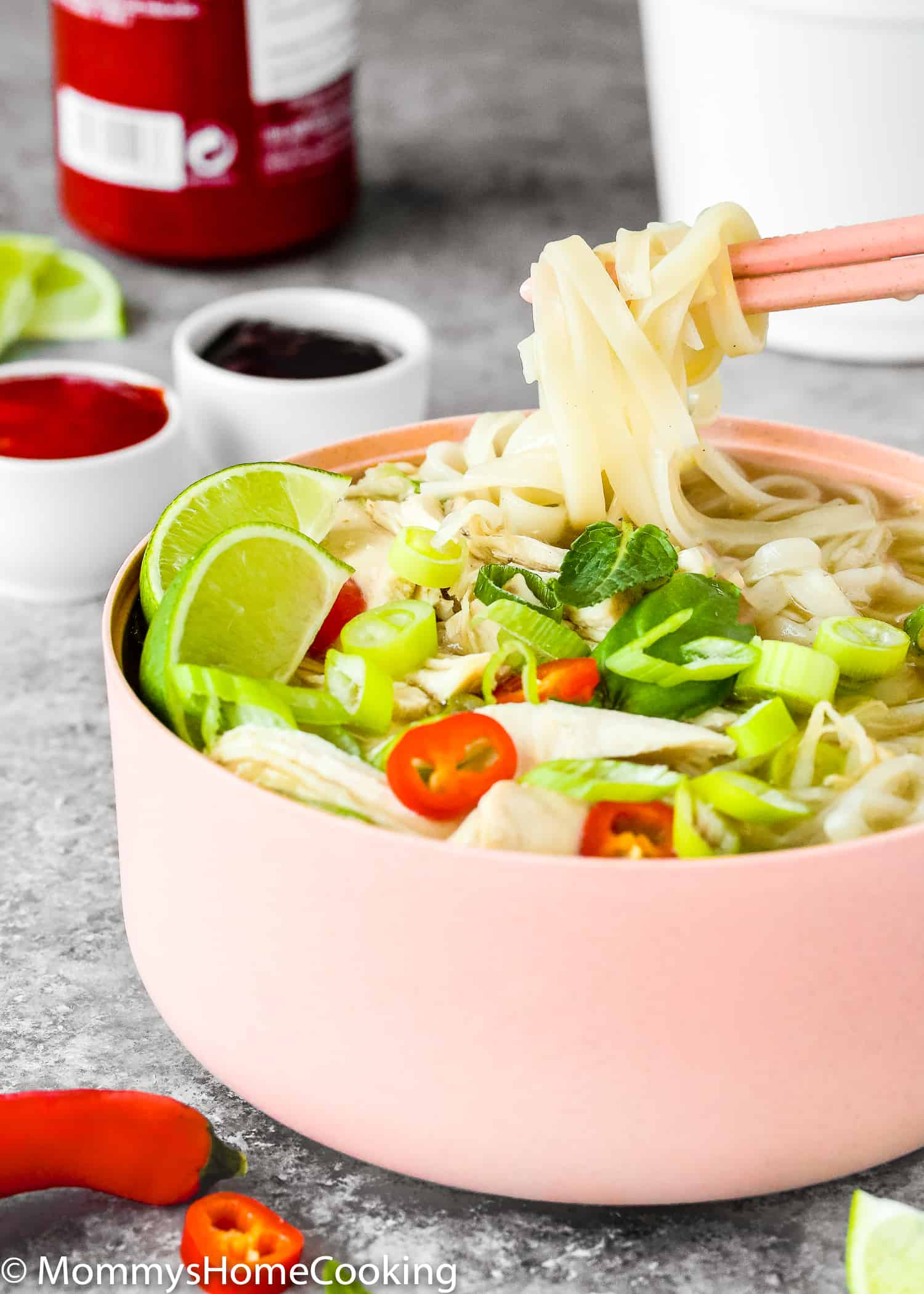 This Easy Instant Pot Chicken Pho is light, fragrant and totally delicious! Made from scratch and in a fraction of the time, this Vietnamese soup recipe takes 30 minutes to make thanks to the pressure cooker's magic. https://mommyshomecooking.com