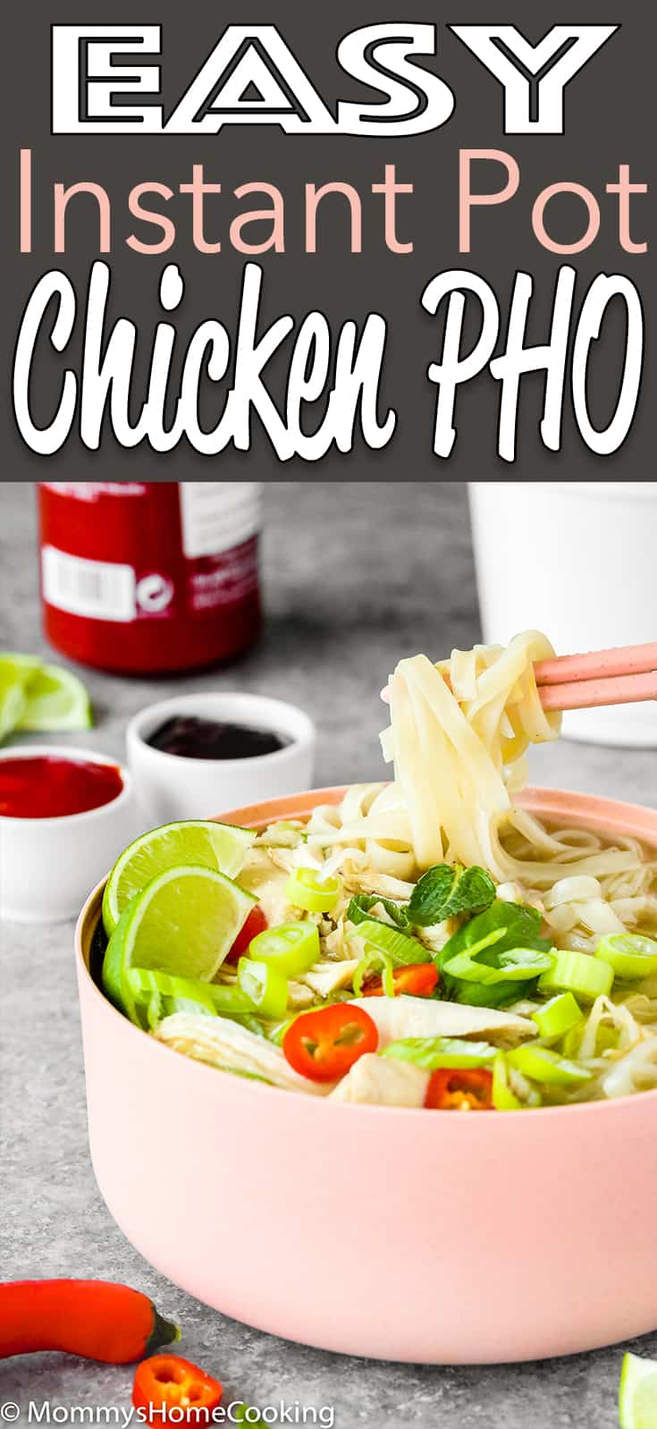 This Easy Instant Pot Chicken Pho is light, fragrant and totally delicious! Made from scratch and in a fraction of the time, this Vietnamese soup recipe takes 30 minutes to make thanks to the pressure cooker's magic. #recipe #easy #instantpot #pho #chicken #soup