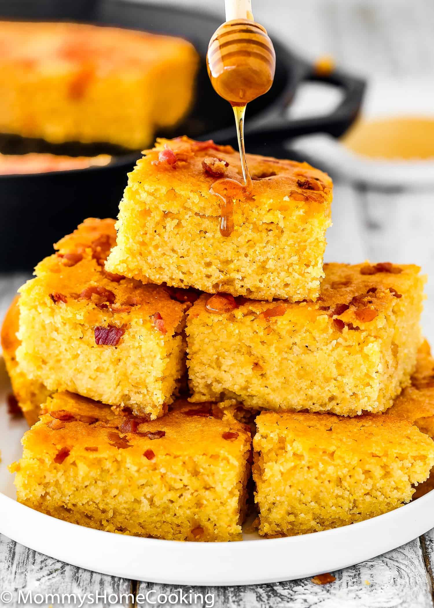 Click to learn how to make The BEST Eggless Cornbread! This eggless cornbread has a super moist, tender crumb that is not dry at all. Made with simple ingredients this effortless recipe is ready in 30 minutes! https://mommyshomecooking.com